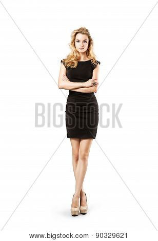 Fashion Woman in Black Dress Isolated on White