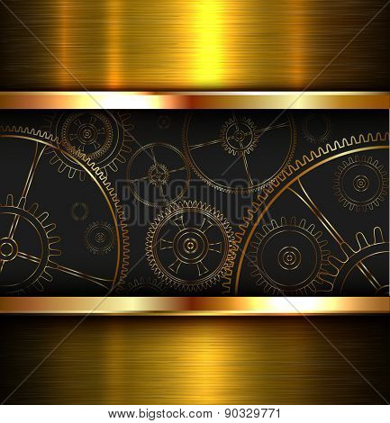 Abstract background metallic gold with gears, vector illustration.