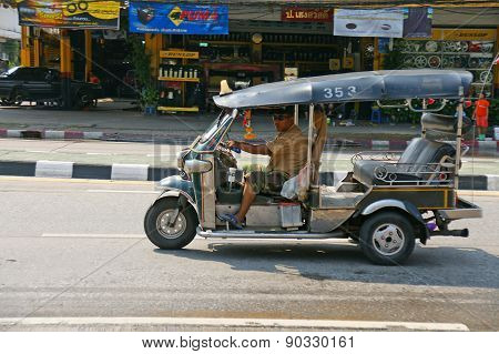 Unidentified Taxi Driver With Traditional Tuk-tuk In Thailand.