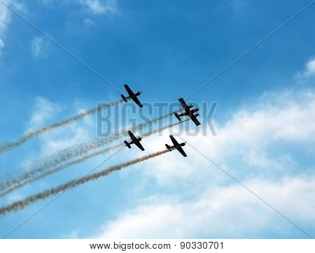Silhouette Sport Aircraft In Air Show