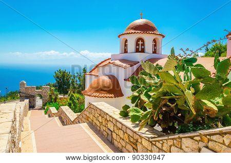 Greek's church with a panorama of sea, Greece