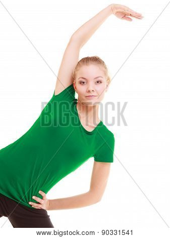 Sport. Flexible Fitness Girl Doing Stretching Exercise