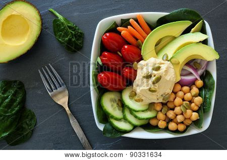 Healthy lunch bowl with super-foods and fresh vegetables