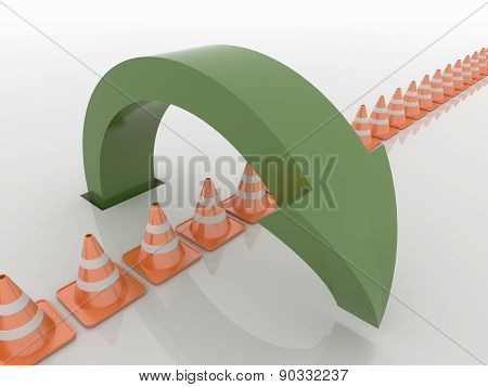 Curved Green Arrow Symbol Over Traffic Cones , Solution And Liberty Concept