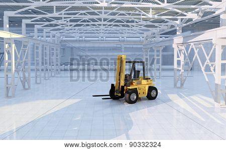 Truck in empty hangar.