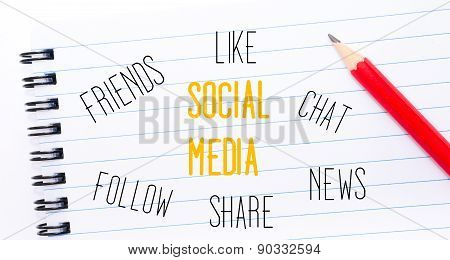 Social Media Text Written On Notebook Page