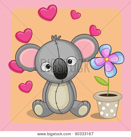 Koala With Heart And Flower
