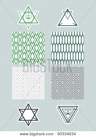 Set Frames And Icons Of Triangles On Backgrounds With A Simple Pattern. Simple Monochrome Concepts.