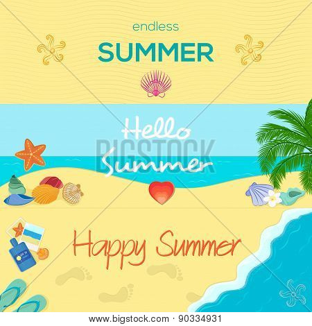 Set of three colorful summer banners in different styles