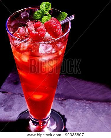 Cold red drink  with berry skewer and mint leaf. Cocktail card 39