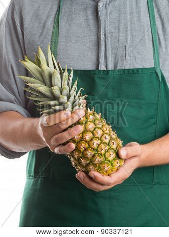Farmer Holding Whole Fresh Pineapple Fruit
