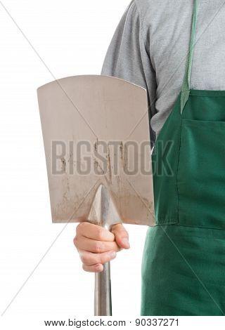 Man Holding Spade