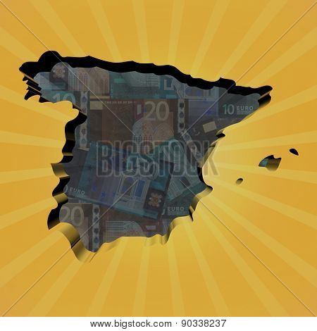 Spain map on euros sunburst illustration