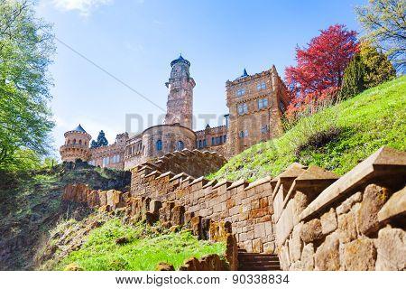 View of Lions castle Lowenburg in Kassel, Germany