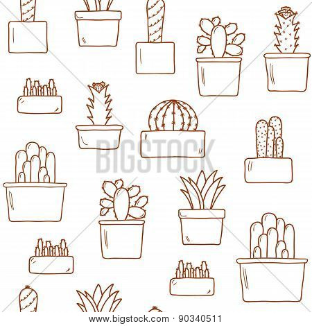 Seamless background with hand drawn cactus