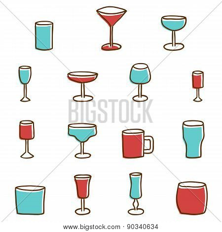 Set of  hand drawn alcohol glasses