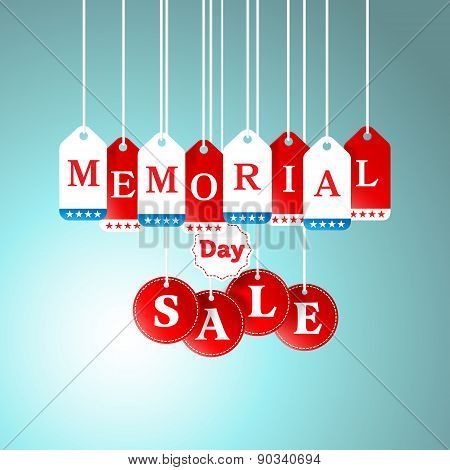 Memorial Day And Sale Tag Hanging In Store For Promotion And Shopping Concept.vector Illustration
