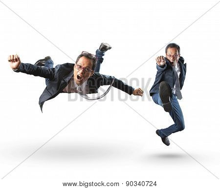 Funny Acting Emotion Of Business Man On White Background