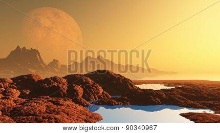 3D render of a surreal alien landscape with planet