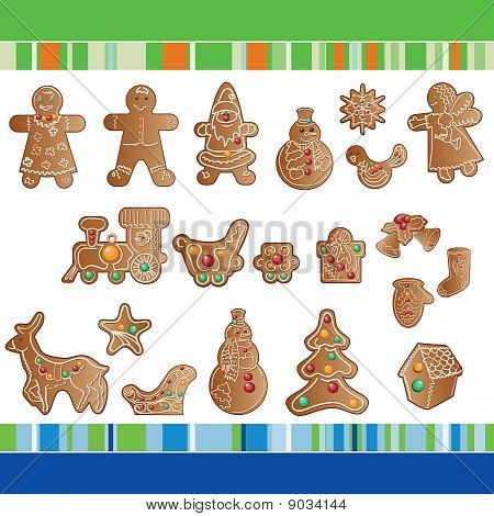 Set Of Christmas Gingerbread Cookies.