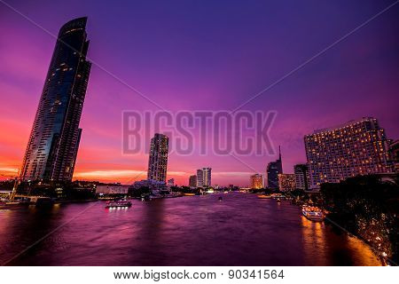 Bangkok City At Night Time