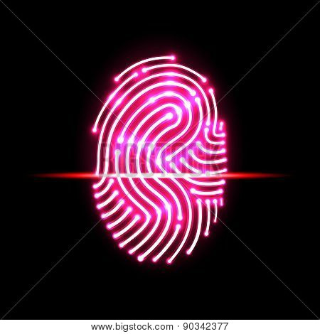 Abstract Fingerprint Scan.letter S.identification And Security System.vector Illustration.