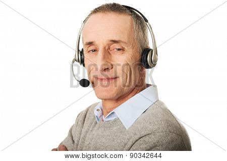 Portrait of call center man wearing a headset.
