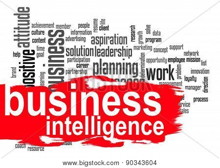 Business Intelligence Word Cloud With Red Banner