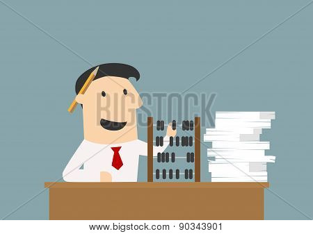 Accountant or businessman using an abacus
