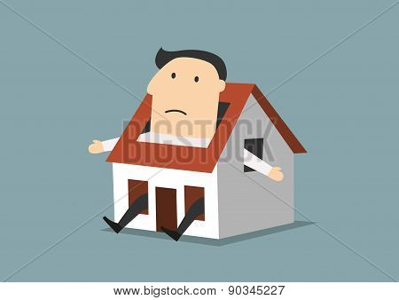 Cartoon businessman sitting in little house