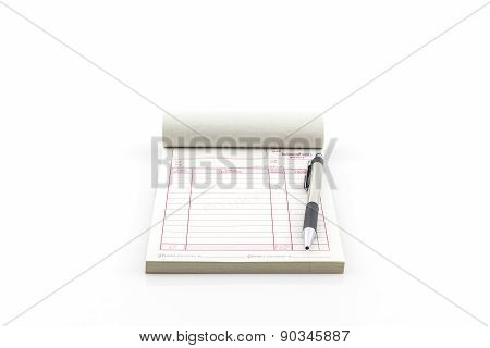 Invoice Book Which Open Blank Page With Pen.