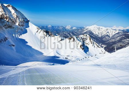 Ski-track with Caucasus mountains on background