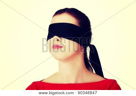 Blindfold woman with band on eyes.