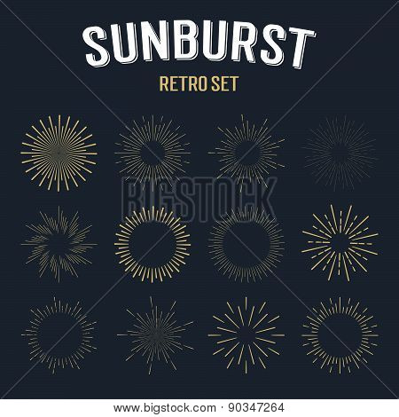 Set Of Gold Vintage Linear Sunbursts