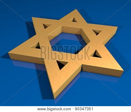 Stylized Image Star Of David Made Of Gold On A Blue Background