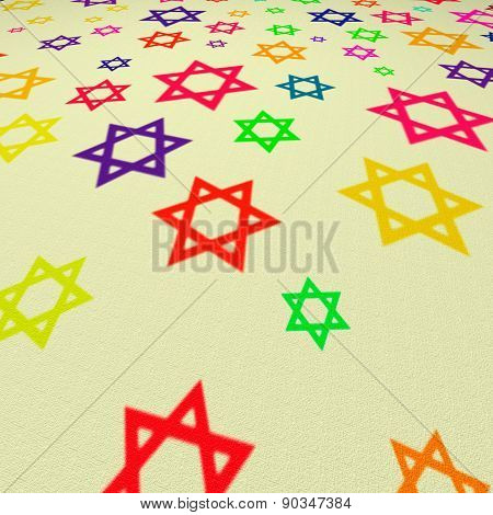 Six-pointed Stars Of Different Colors On A Beige Canvas With Texture