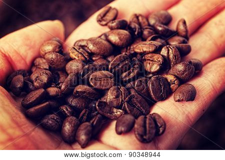 A lot of coffee beans on hand