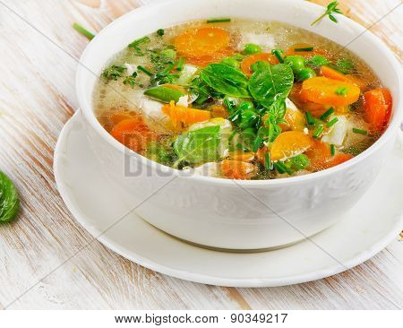 Soup On Wooden Table
