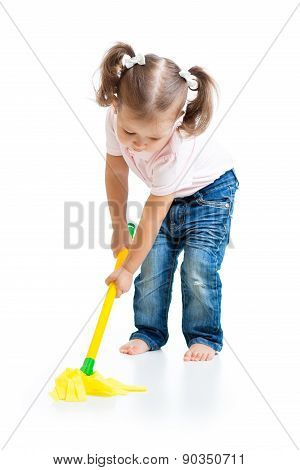 Little girl doing playing and mopping the floor