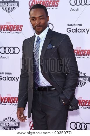 LOS ANGELES - APR 14:  Anthony Mackie arrives to the Marvel's