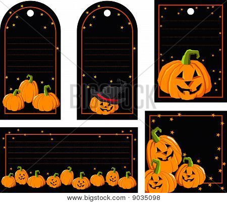Tags with pumpkins