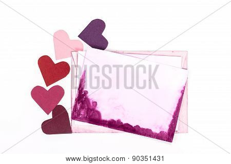 isolated pink open envelope with a blank card for valentine letter