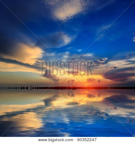 Nice sunset scene over water surface