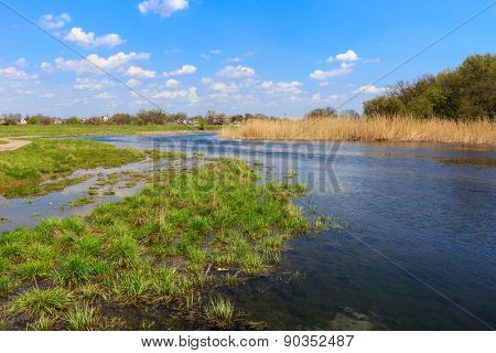 Spring landscape on small Samara river, Ukraine