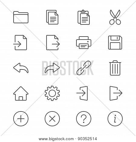 Application Toolbar Thin Icons