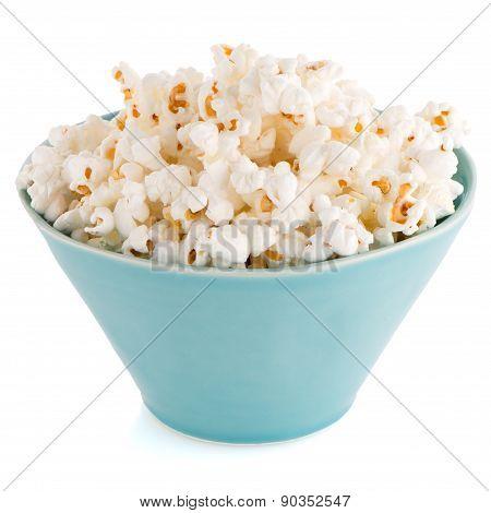 Popcorn In A Blue Bowl
