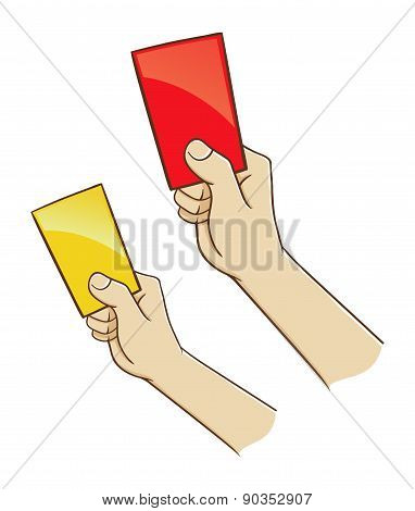 Hand Holding Red And Yellow Card