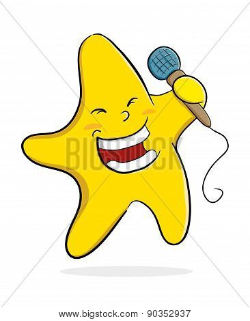 Singing Star With Microphone