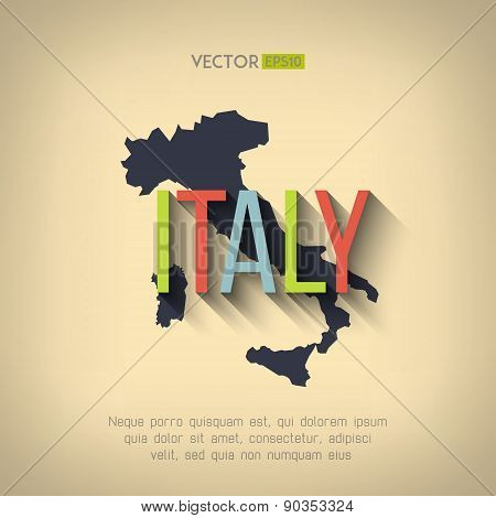 Vector italy map in flat design. Italian border and country name with long shadow