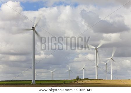 Windfarm Of Green Energy Wind Turbines